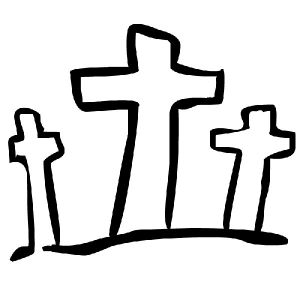 Image of three crosses on Calvary