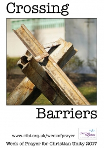Poster for the Week of Prayer for Christian Unity 2017 illustrating the theme of Crossing Barriers together with a web link to Churches Together week of prayer web page