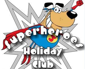 Cartoon logo for St Luke's Superhero Holiday Clib