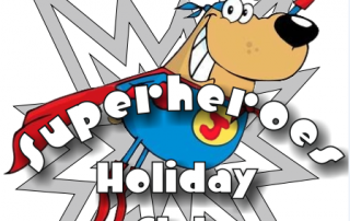 Cartoon logo for St Luke's Superhero Holiday Clib